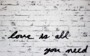 Picture text, letters, wall, love is all you need