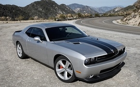 Picture road, mountains, supercar, dodge, challenger, srt8