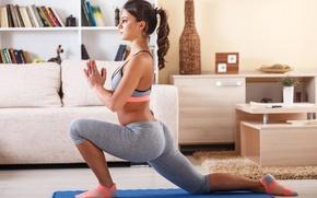 Picture fitness, sportswear, elongation