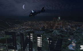 Wallpaper landscape, night, Grand Theft Auto V, Los Santos, gta 5, vinewood