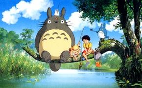 Picture river, tree, Totoro, my neighbor Totoro, ghibli, Hayao Miyazaki, Totoro, Satsuki Kusakabe, Satsuki Kusakabe, fishing …
