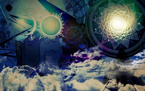 Picture girl, the sun, clouds, circles, patterns, the moon, triangles, logo, a month, logo, art, gear, …