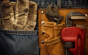 Picture metal, tools, leather pants