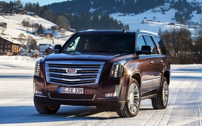 Picture winter, snow, Cadillac, Escalade, Cadillac, 2015, EU-spec, Escalade