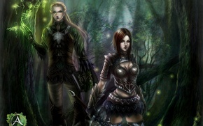 Picture forest, girl, elf, sword, art, guy