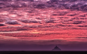 Picture sea, the sky, clouds, castle, France, island, Normandy, Mont-Saint-Michel