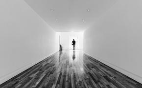 Picture back, the door, corridor, shadows, male