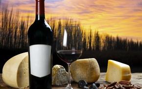 Wallpaper autumn, sunset, nature, wine, glass, bottle, cheese, still life