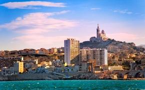 Wallpaper mountain, France, home, coast, sea, Palace, Marseilles, stones