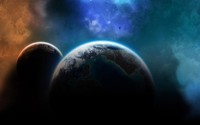 Picture light, planet, shadow