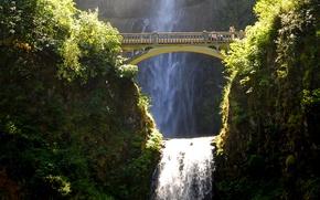 Picture the sun, bridge, rock, open, waterfall, USA, the bushes, Multnomah waterfalls