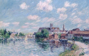 Picture Gustave Loiseau, picture, The river Yonne in Auxerre, bridge, home, the city, the sky, river, ...