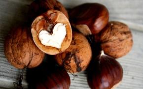 Picture heart, walnut, Chestnut
