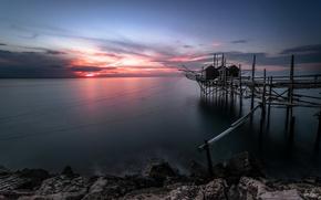 Picture night, bridge, network, lake
