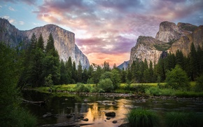Picture forest, the sky, clouds, trees, mountains, lake, Yosemite National Park