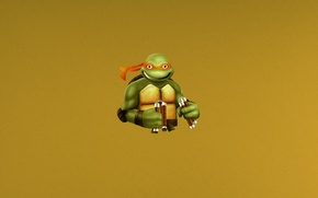 Wallpaper minimalism, Turtles, Mutant, minimalism, Ninja, Teenage, Michelangelo, Turtles, Michelangelo, ninja