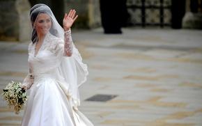 Wallpaper dress, wedding, wedding, Kate, Catherine Middleton