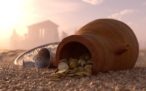 Picture sand, pebbles, money, bowl, blur, coins, pitcher, gold, tray, bokeh, clay, silver, hidden, wallpaper., silver, …