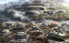 Picture Mountains, Dust, Smoke, Tanks, WoT, Is-7, Tiger II, World of Tanks, World Of Tanks, Wargaming …