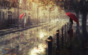 Picture the city, rain, art, Natsu