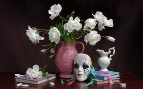 Picture flowers, mask, still life