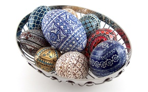 Picture eggs, Pysanka, basket, Easter