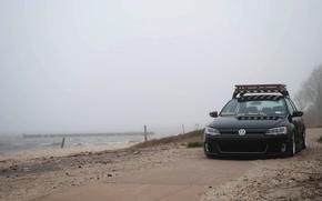 Picture sand, beach, the sky, fog, shore, Volkswagen, Jetta, MK6