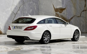 Picture white, background, CLS, Mercedes, Mercedes, rear view, granite, universal, 250, Shooting Brake, Tsls, CDI