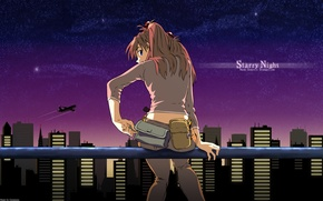 Wallpaper asuka langly, Neon Genesis Evangelion, night, the city