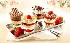Picture raspberry, chocolate, glasses, cream, dessert, sweet, spoon