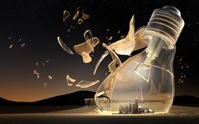Picture city, glass, light bulb