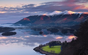 Picture the sky, snow, trees, mountains, lake, island, the evening