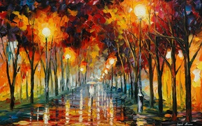 Picture road, reflection, umbrella, rain, people, lights, painting, Leonid Afremov