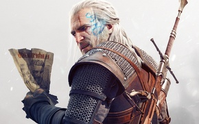 Picture look, Geralt, beard, magic, scar, paper, CD Projekt RED, DLC, sword, armor, The Witcher 3: ...
