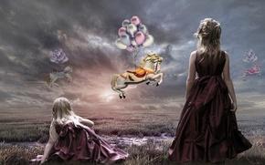 Picture the sky, balls, horses, art, girl, Takis Poseidon