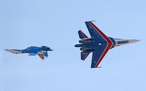 Picture The sky, The plane, Su-27, Russian knights, Aerobatic team, Vladislav Perminov, Speech