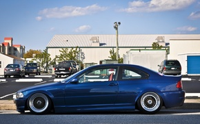 Picture BMW, BMW, tuning, bbs, E46, stance, blue