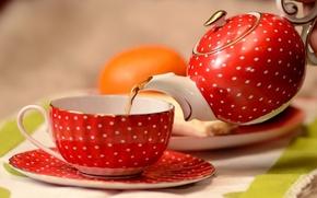 Picture tea, Cup, saucer, teapot, the tea party.
