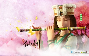 Picture girl, flute, the legend of sword and fairy, chinese paladin, soft star