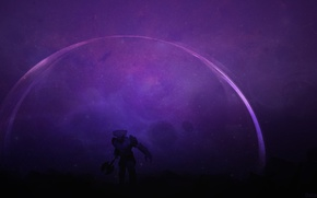 Picture art, the dome, Dota 2, lilac background, Faceless Void