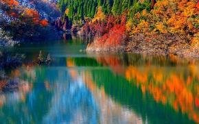 Picture autumn, trees, mountains, lake, reflection