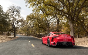 Picture road, auto, Concept, trees, Wallpaper, Toyota, rear view, FT-1