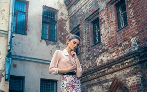 Picture girl, house, background, skirt, brick, blouse, Alena