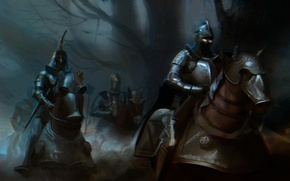 Picture dark, horses, armor, war, horse, riders, knights, burning eyes