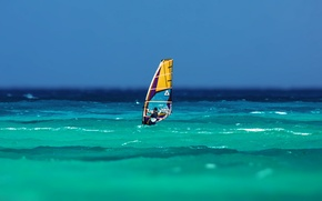 Picture sea, wave, the sky, the wind, sail, Board, Windsurfing