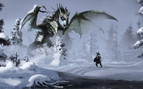 Wallpaper winter, forest, snow, river, magic, dragon, warrior, art, river, Skyrim