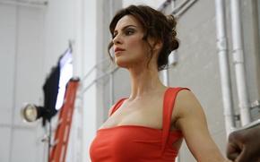Wallpaper brunette, beautiful, girl, model, Catrinel Menghia, red, dress