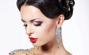Picture face, earrings, lipstick, brunette, lips