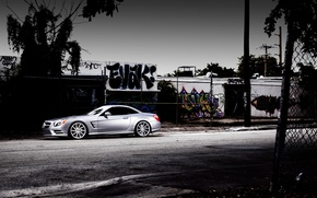 Picture Mercedes-Benz, side, SL-class, silvery, SL 550