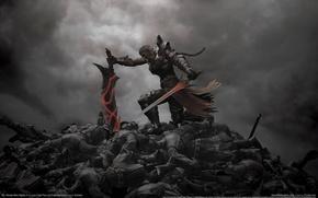 Wallpaper clouds, sword, warrior, corpses, gloom, N3: Ninety-Nine Nights 2, battlefield